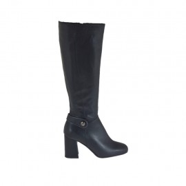 Woman's boot with zipper and button in black leather heel 7 - Available sizes:  33, 34, 42, 43, 44