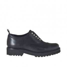 Woman's highfronted shoe with studs in black leather heel 3 - Available sizes:  43, 44, 45