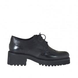 Chaussure derby à lacets pour femmes en cuir et cuir brossé noir avec talon 5 - Pointures disponibles:  42, 43