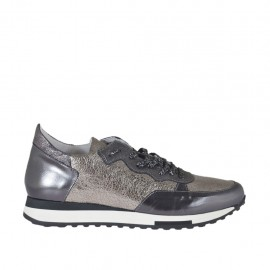 Woman's laced sports shoe with removable insole in grey laminated,silver printed and grey glittered leather wedge heel 3 - Available sizes:  42, 43, 44, 45