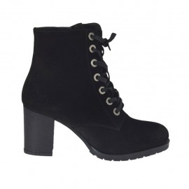 Woman's laced ankle boot with zipper in black suede heel 6 - Available sizes:  32, 33, 34, 42, 43, 44