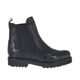 Bottines pour femmes avec elastiques en cuir et cuir brossé noir talon 3 - Pointures disponibles:  33, 34, 42, 43, 44, 45