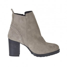 Woman's ankle boot with zipper in light taupe suede heel 6 - Available sizes:  43, 45