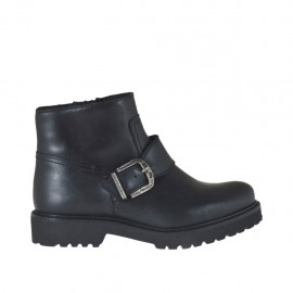 Woman's ankle boot with zipper and buckle in black leather heel 3 - Available sizes:  44, 45