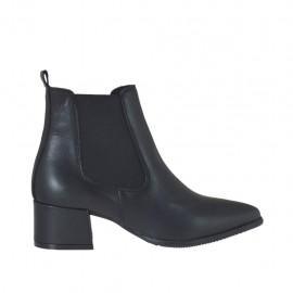 Bottines à bout pointu pour femmes avec élastiques en cuir noir talon 4 - Pointures disponibles:  33, 34, 42, 43, 44, 45