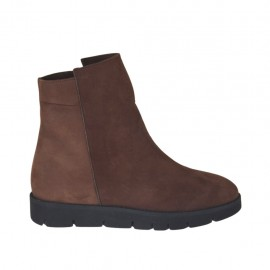 Woman's ankle boot with zipper in brown nubuck leather wedge heel 3 - Available sizes:  42, 43, 45