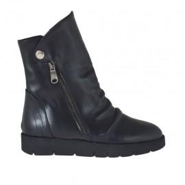 Botines para mujer con cremalleras y boton en piel negra cuña 3 - Tallas disponibles:  33, 43, 44, 45