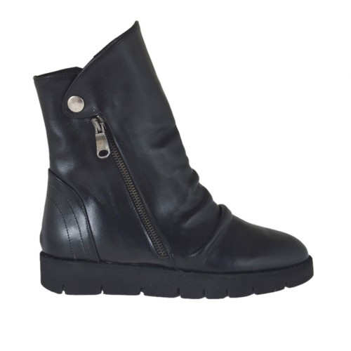 Woman's ankle boot with zippers and button in black leather wedge heel 3 - Available sizes:  33