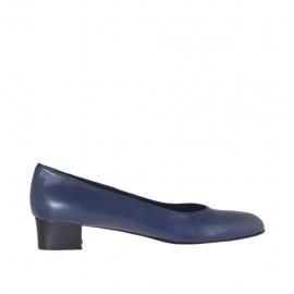 Zapato de salon en piel de color azul para mujer tacon 3 - Tallas disponibles:  42, 43, 44, 45
