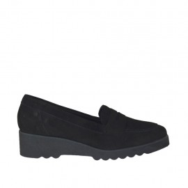 Woman's moccasin shoe in black suede wedge heel 4 - Available sizes:  33, 34, 43, 44, 45