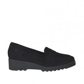 Zapato mocasin para mujer en gamuza negra cuña 4 - Tallas disponibles:  33, 34, 43, 44