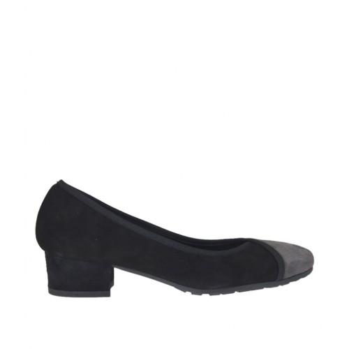 Decolté da donna in camoscio nero e grigio tacco 3 - Misure disponibili: 33, 34, 44, 45