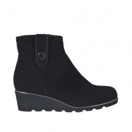Botines para mujeres con boton y cremallera en gamuza y charol negro cuña 4 - Tallas disponibles:  32, 33, 34, 42, 43, 44, 45