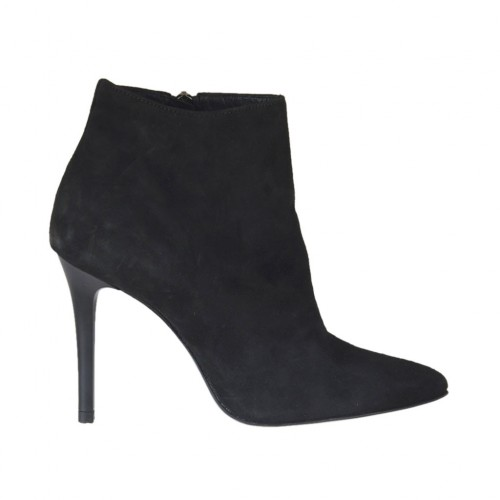 Woman's ankle boot with zipper in black suede heel 10 - Available sizes:  31