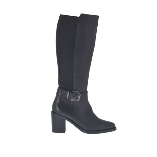 Woman's boot with zipper, elastic band and buckle in black leather heel 6 - Available sizes:  42, 43