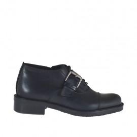 Woman's laced Oxford shoe with buckle in black leather heel 3 - Available sizes:  34, 43, 44, 45