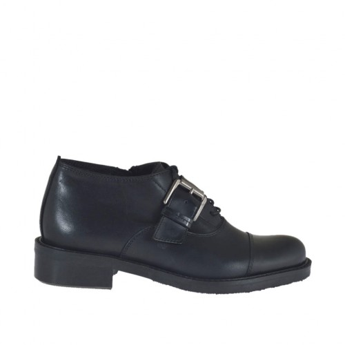 Woman's laced Oxford shoe with buckle in black leather heel 3 - Available sizes:  43, 44