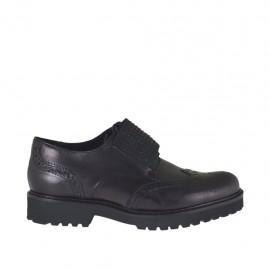 Chaussure à lacets pour femmes avec elastique et pierres en cuir noir talon 3 - Pointures disponibles:  33, 43, 44