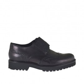 Zapato con cordones para mujer con elastico y estrases en piel negra tacon 3 - Tallas disponibles:  33, 34, 43, 44, 45