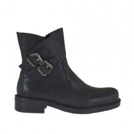 Damenstiefelette mit Reißverschluss und Schnallen aus schwarzem Leder Absatz 3 - Verfügbare Größen:  32, 33, 34