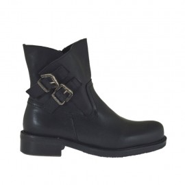 Woman's ankle boot with zipper and buckles in black leather heel 3 - Available sizes:  32, 33, 34, 45