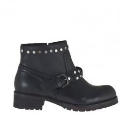 Damenstiefelette mit Reißverschluss, Nieten und Schnalle aus schwarzem Leder mit Absatz 3 - Verfügbare Größen:  34, 45