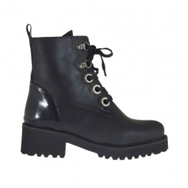 Woman's laced combat boot with zipper in black leather and brush-off leather heel 4 - Available sizes:  43