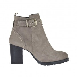 Woman's ankle boot with zipper, buckle and studs in light taupe suede heel 6 - Available sizes:  43