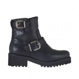 Damenstiefelette mit Reißverschluss und Schnallen aus schwarzem Leder Absatz 4 - Verfügbare Größen:  32, 33, 34, 42, 43