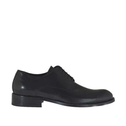 Men's derby shoe with laces in black smooth leather - Available sizes:  36, 37, 38, 46, 47, 48, 49, 50