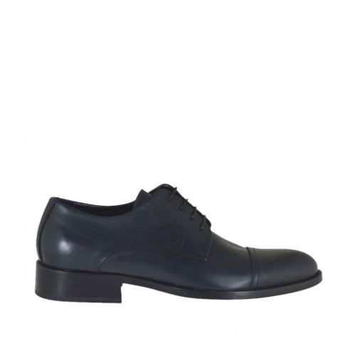 Elegant laced derby men's shoe with captoe in blue leather - Available sizes:  36, 37, 38, 46, 47, 48, 49, 50