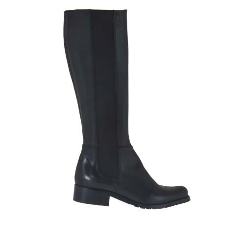 Bota para mujer con elastico y cremallera en piel negra tacon 3 - Tallas disponibles:  33