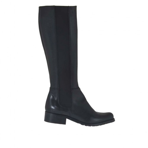 Woman's boot with elastic band and zipper in black leather heel 3 - Available sizes:  33