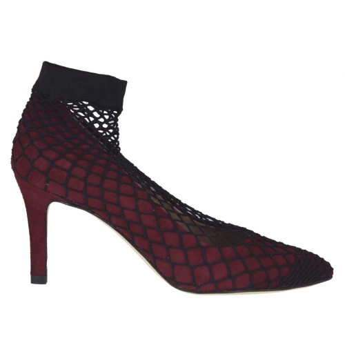 Woman's pump in maroon suede with net heel 7 - Available sizes:  33, 34