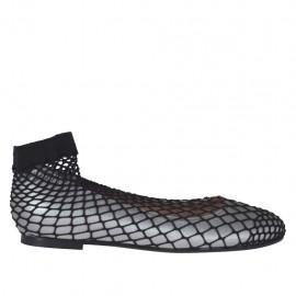 Runder Damenballerinaschuh aus stahlgrauem laminiertem Leder mit Netz Absatz 1 - Verfügbare Größen:  32, 33, 34, 44, 45