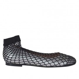 Woman's rounded ballerina shoe in steel grey laminated leather with net heel 1 - Available sizes:  32, 33, 34, 43, 44, 45