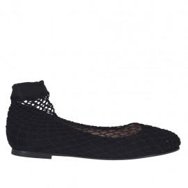 Ballerinaschuhe für Damen mit runder Spitze aus schwarzem Wildleder mit Netz Absatz 1 - Verfügbare Größen:  33, 34, 44, 45