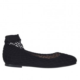 Woman's ballerina shoe with round tip in black suede with net heel 1 - Available sizes:  32, 33, 34, 44, 45