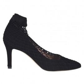 Escarpin pour femmes en daim noir avec tissu résille talon 7 - Pointures disponibles:  33, 34, 42, 43, 44, 45
