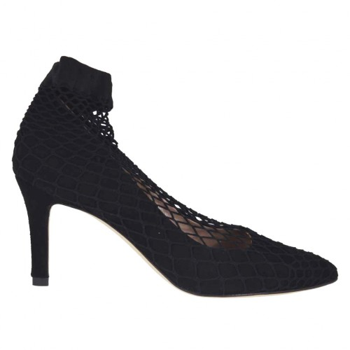 Woman's pump in black suede with net heel 7 - Available sizes:  33