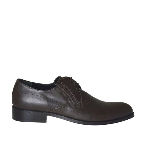 Men's elegant derby shoe with elastics and laces in smooth brown leather - Available sizes:  36, 37, 38, 46, 47, 49, 50