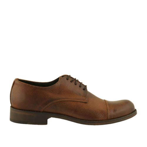 Men's elegant laced derby shoe with captoe in brown leather with rounded tip - Available sizes:  38, 46, 47, 48, 50