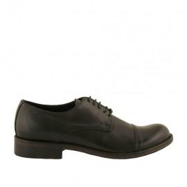 Zapato derby elegante con cordones y puntera para hombre en piel de color negro con punta redondeada - Tallas disponibles:  36, 37, 38, 48, 50