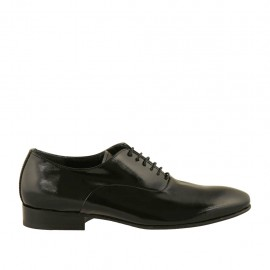 Eleganter Herrenoxfordschuh mit Schnürsenkeln aus schwarzem bedrucktem Lackleder - Verfügbare Größen:  36, 37, 38, 46, 47, 48, 49