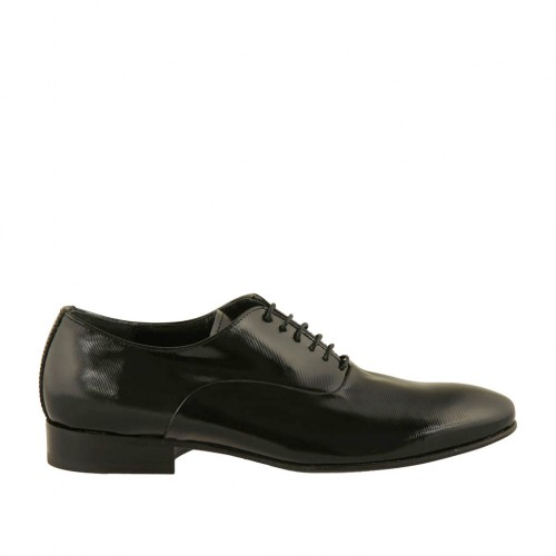 Men's elegant laced Oxford shoe in black printed patent leather - Available sizes:  36, 37, 46, 47, 48