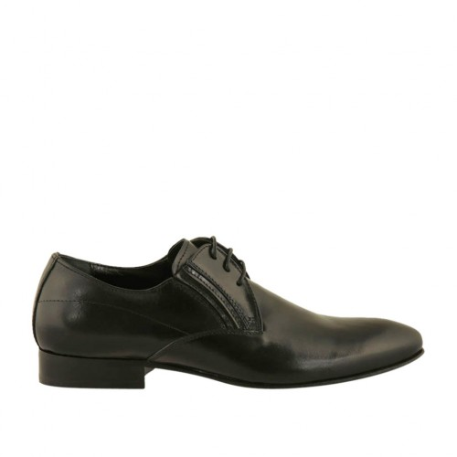 Men's elegant pointy laced derby shoe with elastic bands in smooth black leather - Available sizes:  36, 47, 48, 50