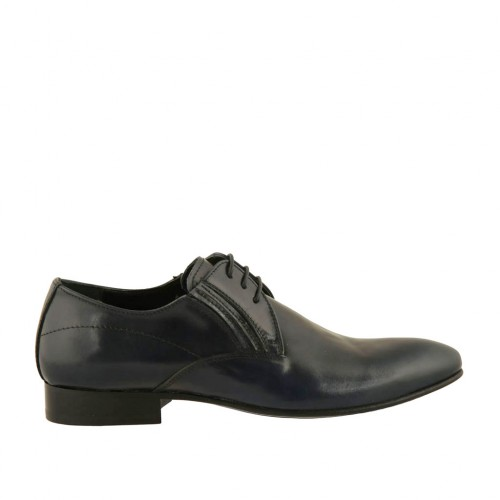 Men's elegant pointy laced derby shoe with elastic bands in smooth blue leather - Available sizes:  37, 38, 48, 49, 50