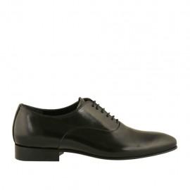 Eleganter Herrenoxfordschuh mit Schnürsenkeln und spitz-zulaufender Spitze aus schwarzem glattem Leder - Verfügbare Größen:  36, 37, 38, 47, 48, 49, 50