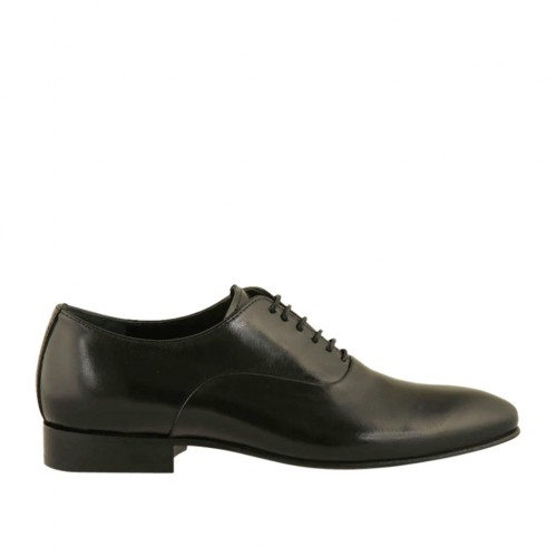Elegant men's pointy Oxford shoe with laces in black smooth leather - Available sizes:  47, 50