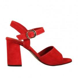 Sandalo da donna con cinturino in camoscio rosso tacco 7 - Misure disponibili: 32, 33, 34, 42, 43, 44, 45